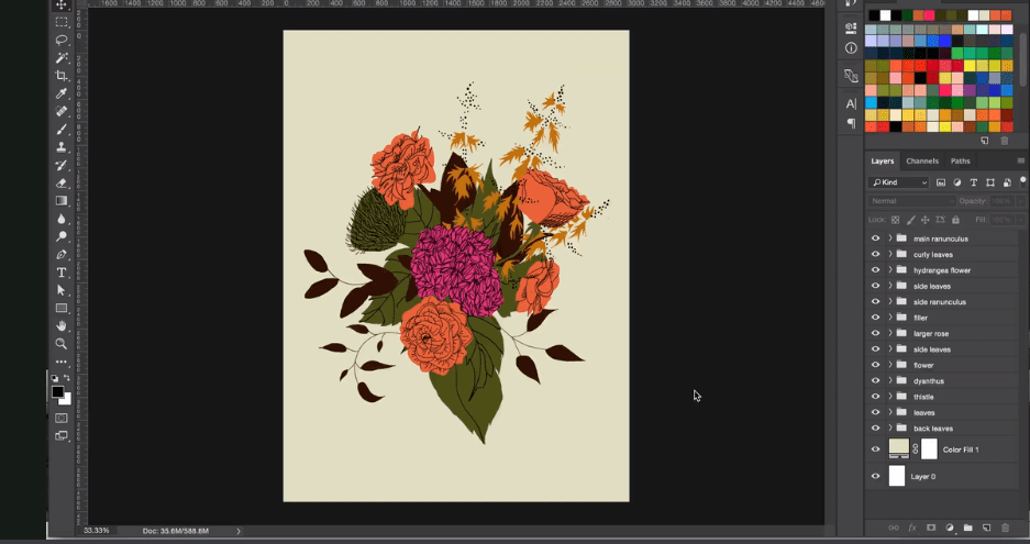 Best skillshare classes - Illustrating Flowers & Arranging Bouquets in Photoshop