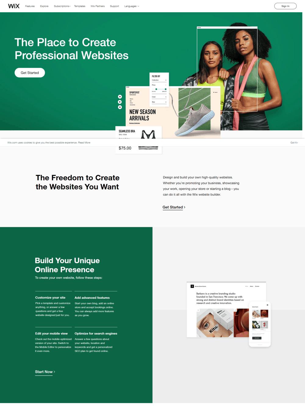 Portfolio en ligne - wix