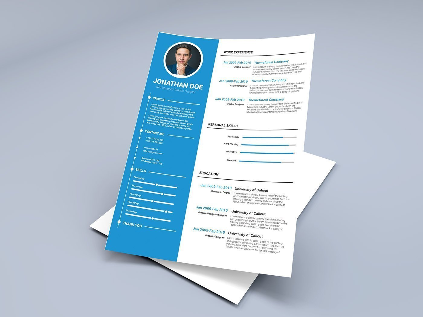 Graphic design - free resume template