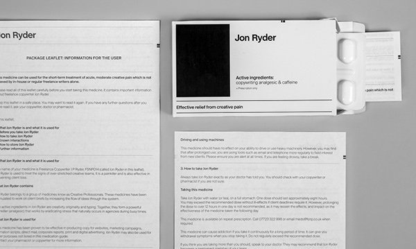Graphic design resume - fake medication delivers a copywriting painkiller