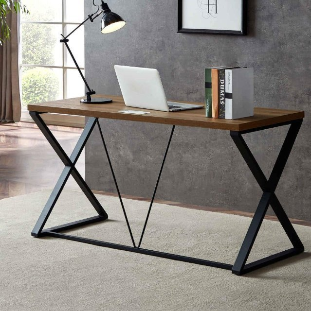 DYH Computer Desk, Industrial Wood and Metal X Writing Desk - Minimalist