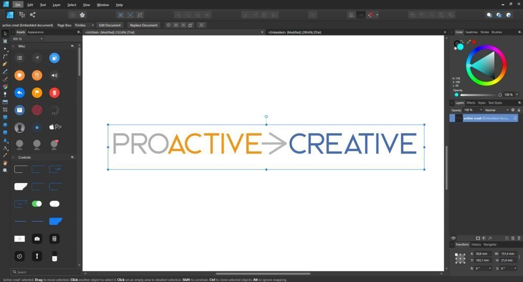 Affinity Designer interface - Proactive Creative