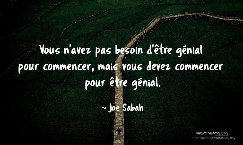 Citation sur l'action - agir - Joe Sabah