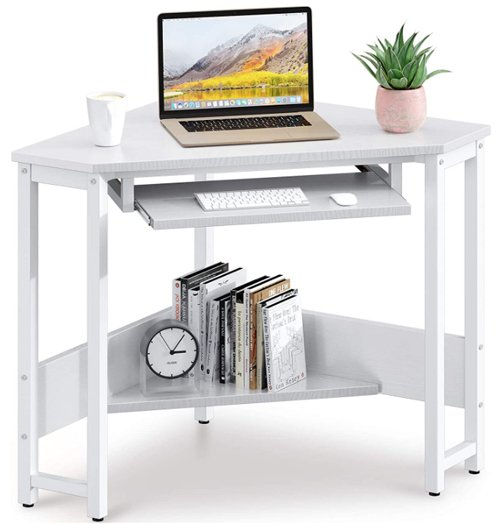 Computer desk with keyboard tray - ODK Corner Desk, Triangle Computer Desk