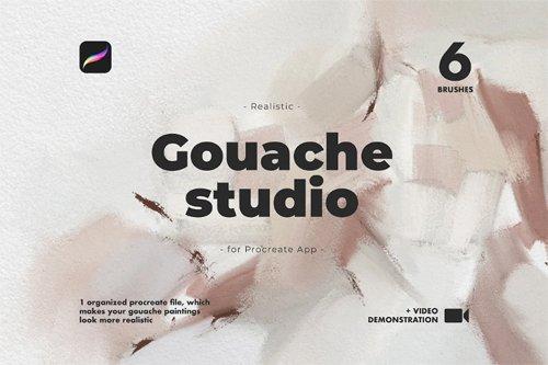 Realistic Procreate Gouache Studio